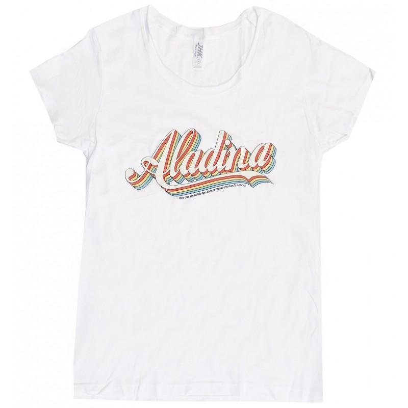 Camiseta vintage para mujer blanca Aladina